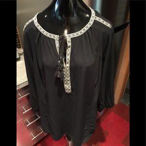 Avenue Black Bohemian Flowing Shirt Sz 14/16